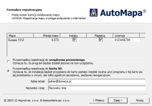 Formularz rejestracyjny z możliwością przypisania licencji