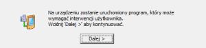 Informacja o interwencji użytkownika