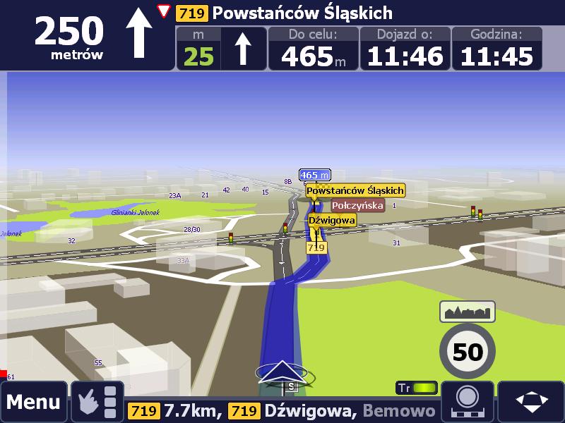 Wizualizacja skrzyżowania dróg podporządkowanej i głównej