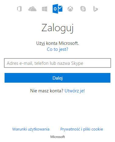 Okno logowania do konta Outlook