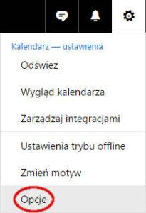 Menu kontekstowe dla przycisku Ustawienia w serwisie Outlook
