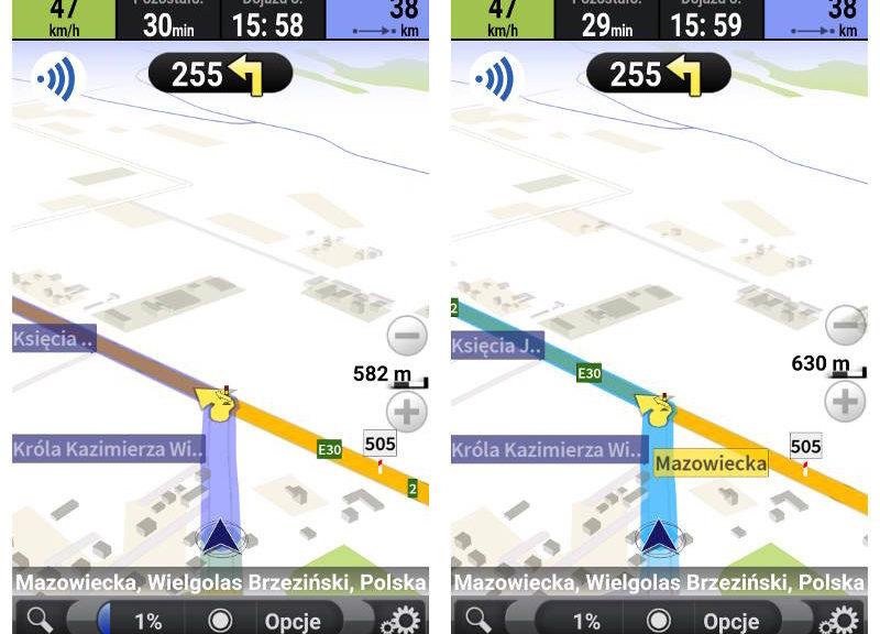 Porównanie kolorów map AutoMapa 2 na dzień z AM na dzień w trybie 3D
