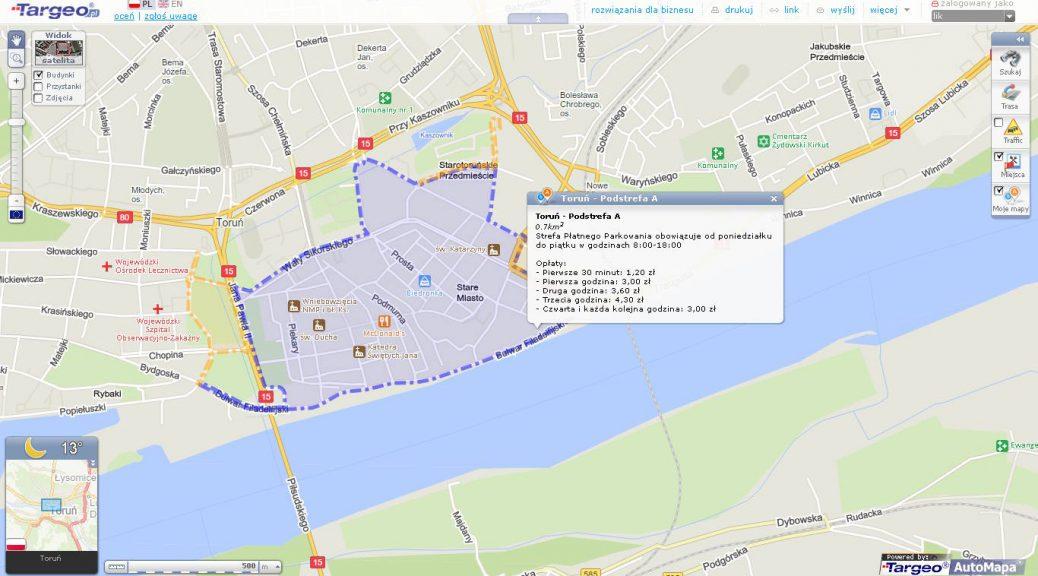 Opis Strefy Płatnego Parkowania na mapie Targeo