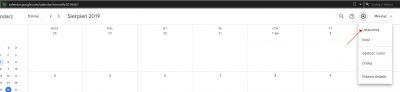 Wejście w ustawienia kalendarza Google