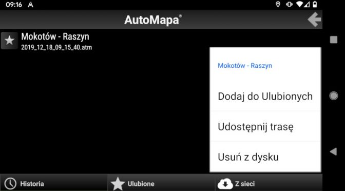 AutoMapa Android - kasowanie trasy z Historii