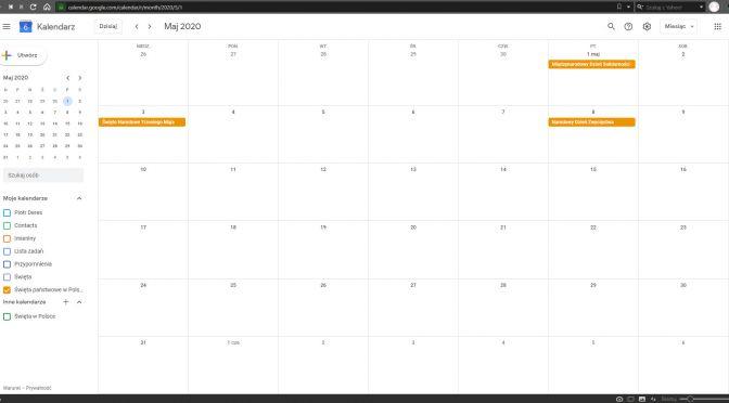 Google Calendar - Polskie święta państwowe i narodowe