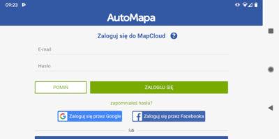 AutoMapa - Nowe opcje logowania do MapCloud