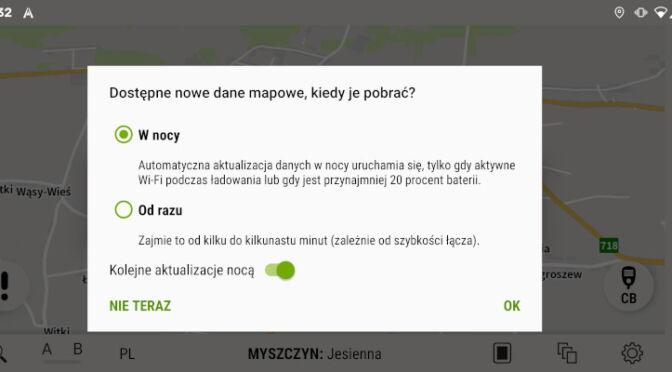 AutoMapa Android - Informacja o aktualizacji w nocy