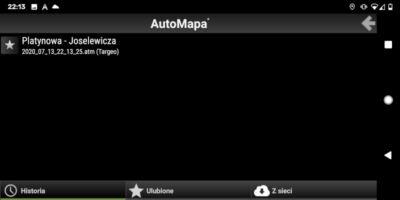AutoMapa dla Android - Okno Historia w menu Trasa