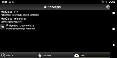 AutoMapa dla Android - Okno Z sieci w menu Trasa
