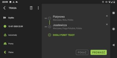 AutoMapa dla Android - Wczytana trasa