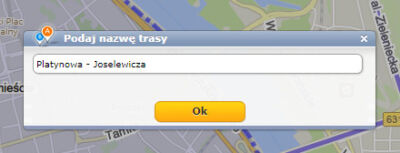 Targeo - Wprowadzanie nazwy trasy