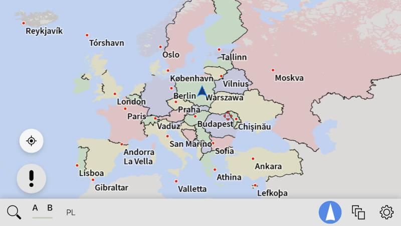 AutoMapa iOS Powiększona mapa Europy