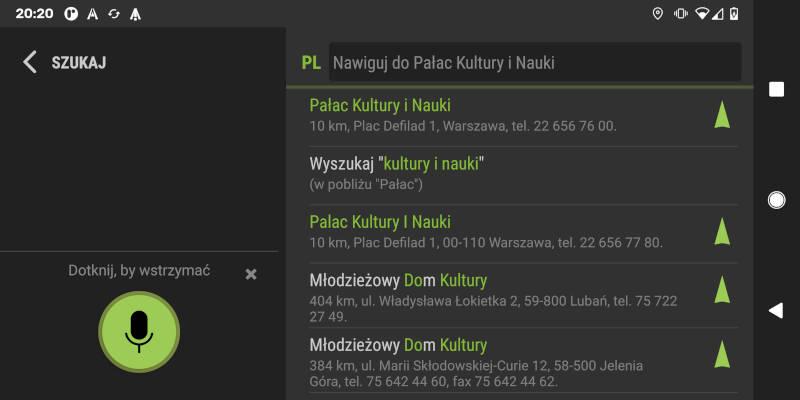 AutoMapa Android 5.9 - głosowe startowanie nawigowania
