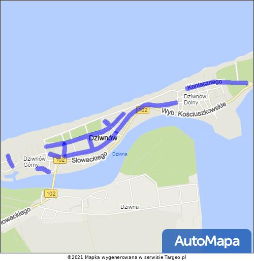 Dziwnów Strefa Płatnego Parkowania mapa Targeo