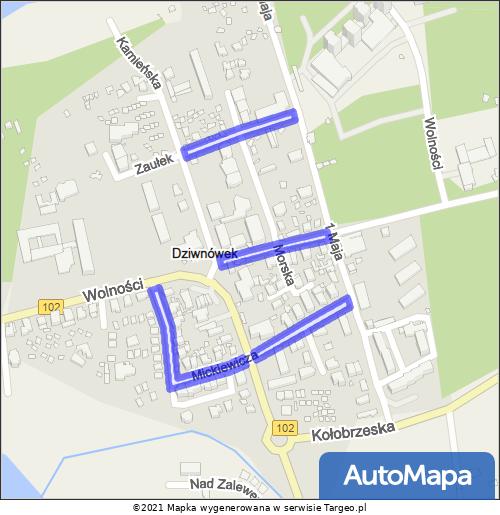 Dziwnówek Strefa Płatnego Parkowania mapa Targeo