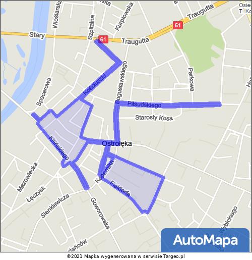 Ostrołęka Strefa Płatnego Parkowania mapa Targeo