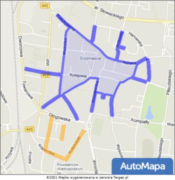 Ostrów Wielkopolski Strefa Płatnego Parkowania mapa Targeo