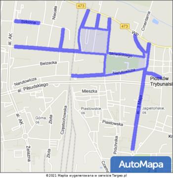 Piotrków Trybunalski Strefa Płatnego Parkowania mapa Targeo