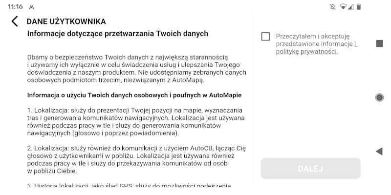 AutoMapa Android - okno Dane użytkownika