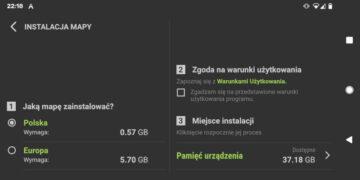 AutoMapa Android 6.1.1 - Nowy ekran wyboru mapy do instalacji