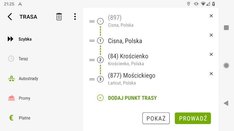 AutoMapa Android Menu Trasa