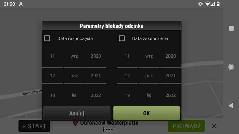 AutoMapa Android Parametry blokady odcinka