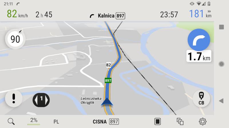 AutoMapa Android Symulacja trasy